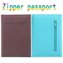 High Quality Zipper Passport Holder  PU Leather Travel Passport Cover promotional passport case passport wallet protective