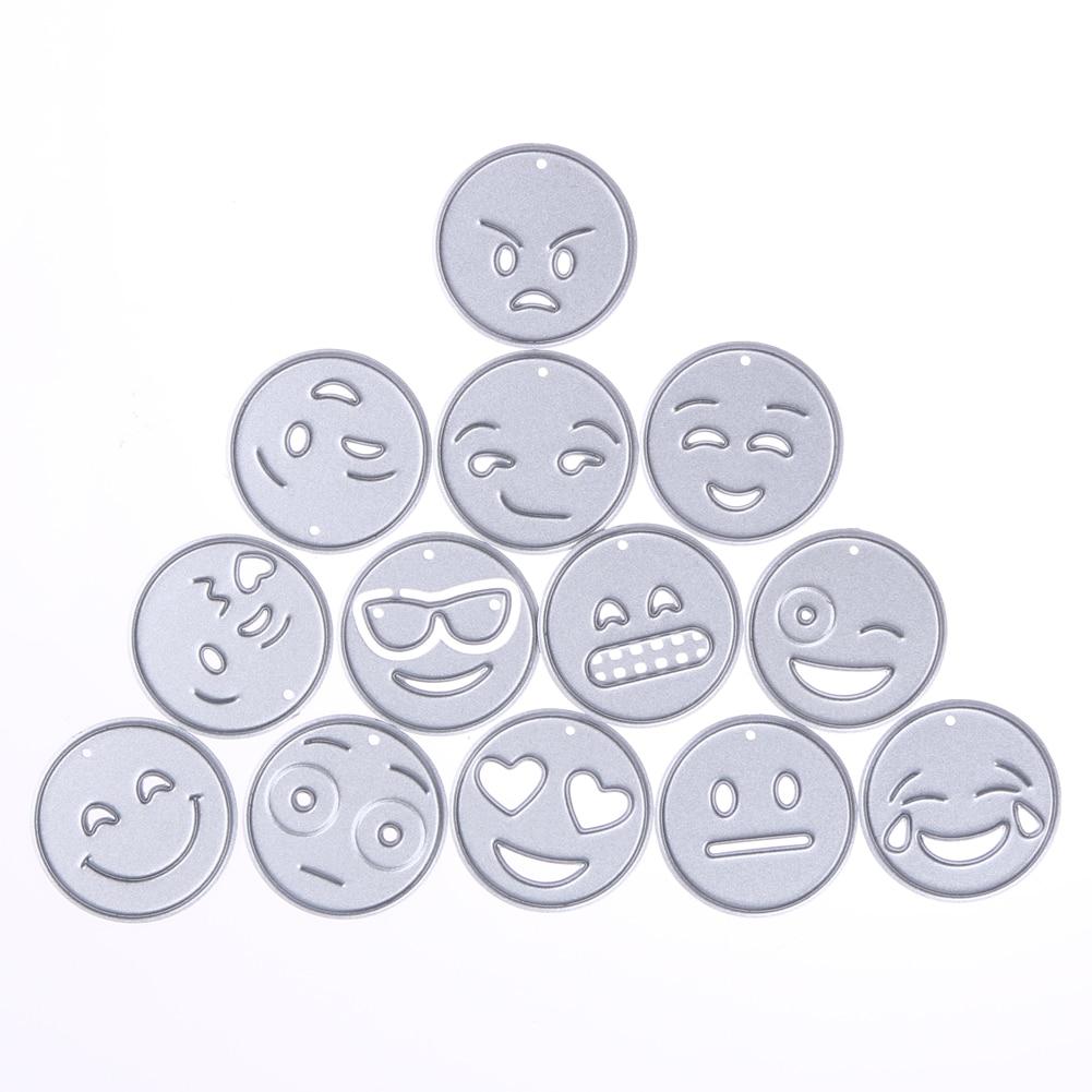 13db / tétel Emoji fémdoboz vágószerszámok vágógép Scrapbooking dombornyomó album kártya kézműves karácsonyi matricák öltése