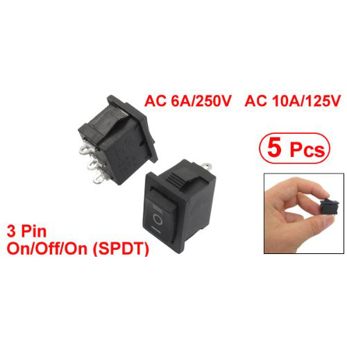 5 pcs SPDT On/Off/On Mini Black 3 Pin Rocker Switch AC 6A/250V 10A/125V yellow led on off rocker switch w terminal protector set for electric appliances 2 pcs