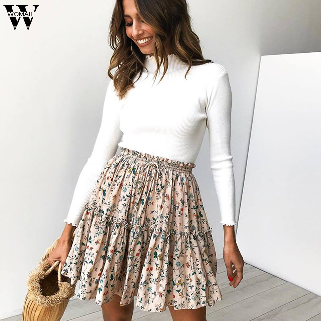 Womail Skirts 2019 New Fashion High Waist Print Skirt Summer High Waist A Line Mini Skirts For Women Casual Holiday J611