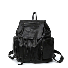 Fashion Black Gold Backpack Women Plain PU Leather Casual Sofe Bag Ladies Designer Drawstring Washable Leather Dayback