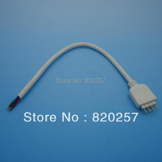Free shipping 50pcs Lot 4 pin male led connector with 100mm white cable for rgb led strip light 5050/3528 no need soldering