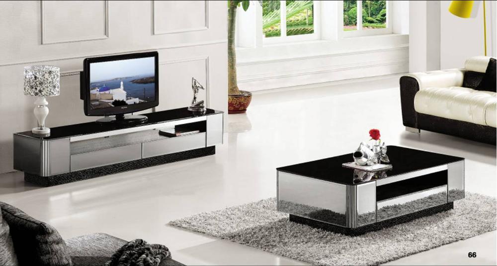 2 piece living room set coffee table modern gray mirror furniture tv cabinet grand fashion home yq140