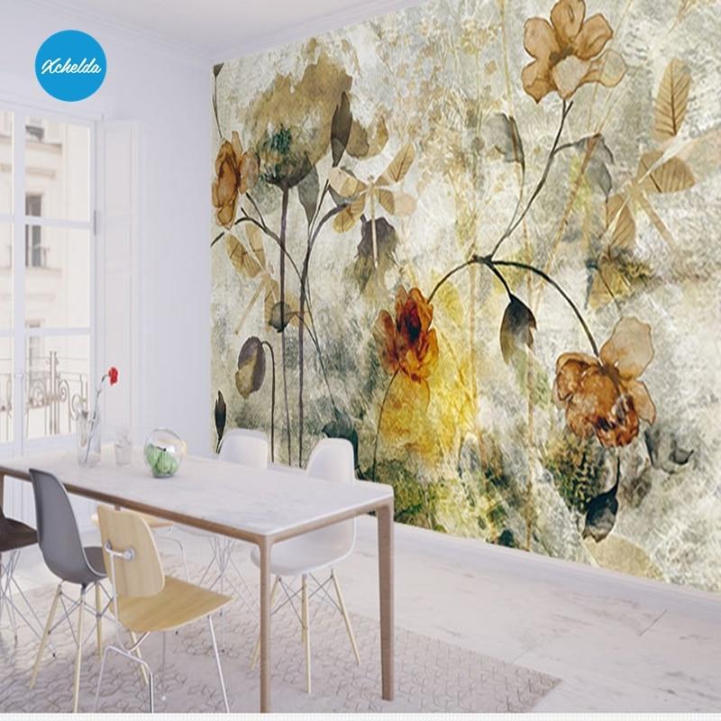 Xchelda Custom 3d Wallpaper Design Old Texture Flowers Photo