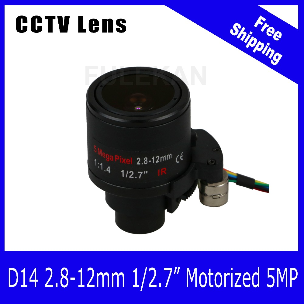 Motor 5Megapixel  Varifocal HD CCTV Lens 2.8-12mm  D14 Mount With Zoom and Focus For 3MP/4MP/5MP Camera Free Shipping free shipping new and original for niko lens 18 200mm f 3 5 5 6g ed vr 18 200 swm unit focus motor 1b060 969