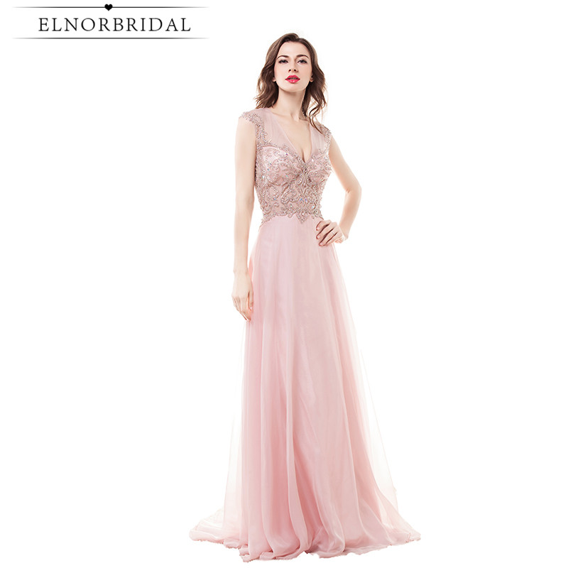 Modest Blush Pink Prom Dresses Long 2017 Robe De Soiree Longue Open Back Imported Party Dress A Line Chiffon Evening Gowns