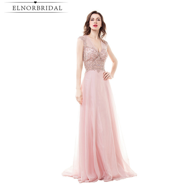 Modest Blush Pink Prom Dresses Long 2017 Robe De Soiree Longue Open ...