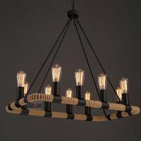 The Designer rope lamp LOFT chandelier cafe bar room clothing store hemp chandelier Hand woven rope retro Rectangular chandelier