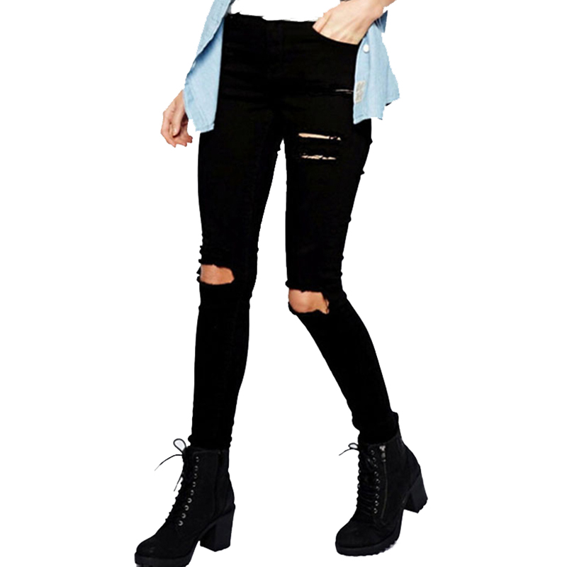 Fetoo 2017 Black Ripped Jeans Women High Waisted Trousers Stretch Slim Pencil Pants Skinny Fashion Denim Hole Jeans Female P45 hot sale women s ripped jeans fashion skinny slim stretch jeans for woman loose hole denim black pencil pants free shipping