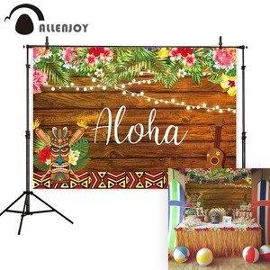 Image 1 - Allenjoy fondo de fotografía Aloha tiki luau fiesta cumpleaños niño madera flor tropical telón de fondo cabina de estudio fotográfico