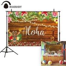Allenjoy fotoğraf arka plan Aloha tiki luau parti doğum günü çocuk ahşap tropikal çiçek fon fotoğraf stüdyosu fotoğraf standında