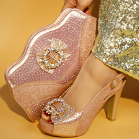 Newest champagne Color Latest Design Matching Italian Shoe and Bag Set Wedding and Party African Shoes and Bag Set