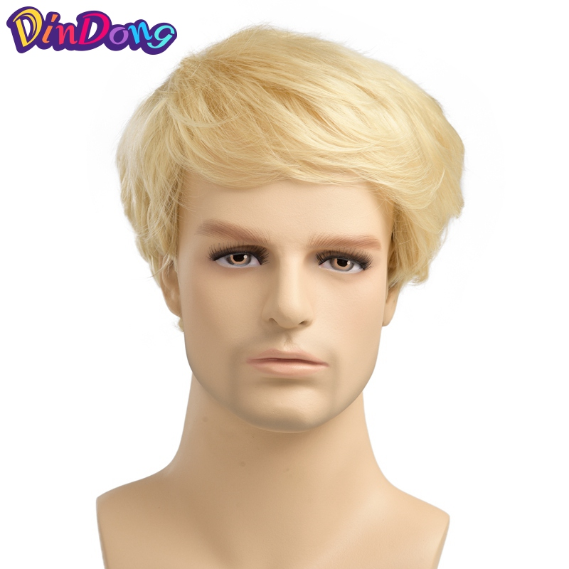 DinDong Blonde Male Wig 6 inch Short Straight Wig For Men Synthetic Hair Fleeciness Realistic Wigs