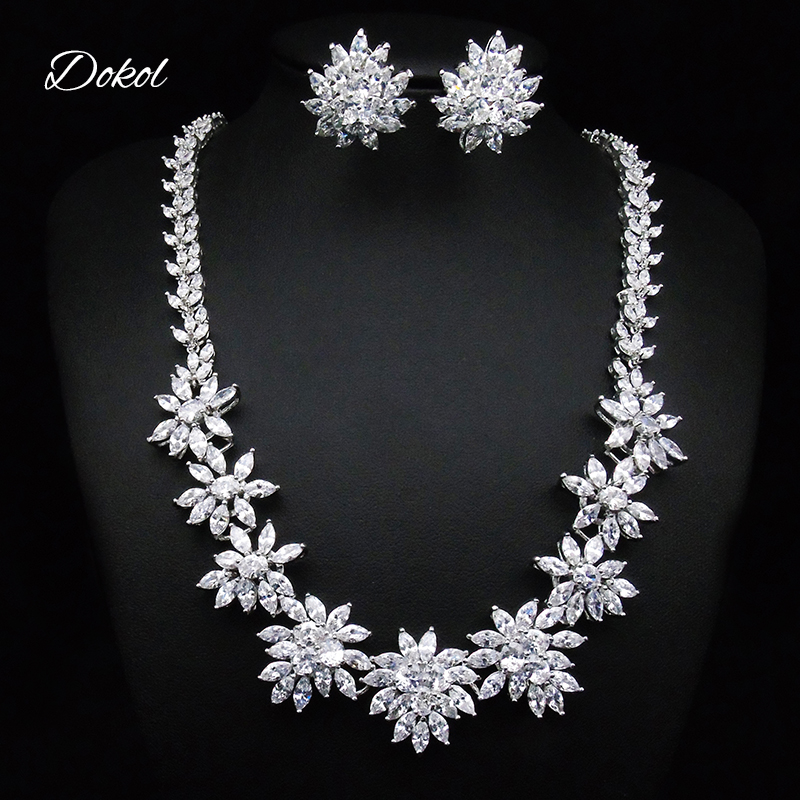 DOKOL Luxury Silver Color Wedding Jewelry Set For Brides Sparkling Zirconia Flower Cluster Necklace Sets For Women DKS0029