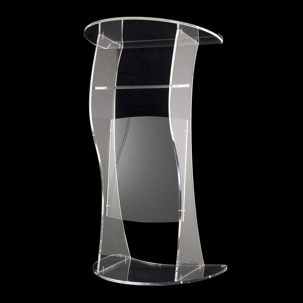 Fixture Displays Clear Acrylic Plexiglass Podium Curved Aluminum Sides Pulpit Lectern Plexiglass