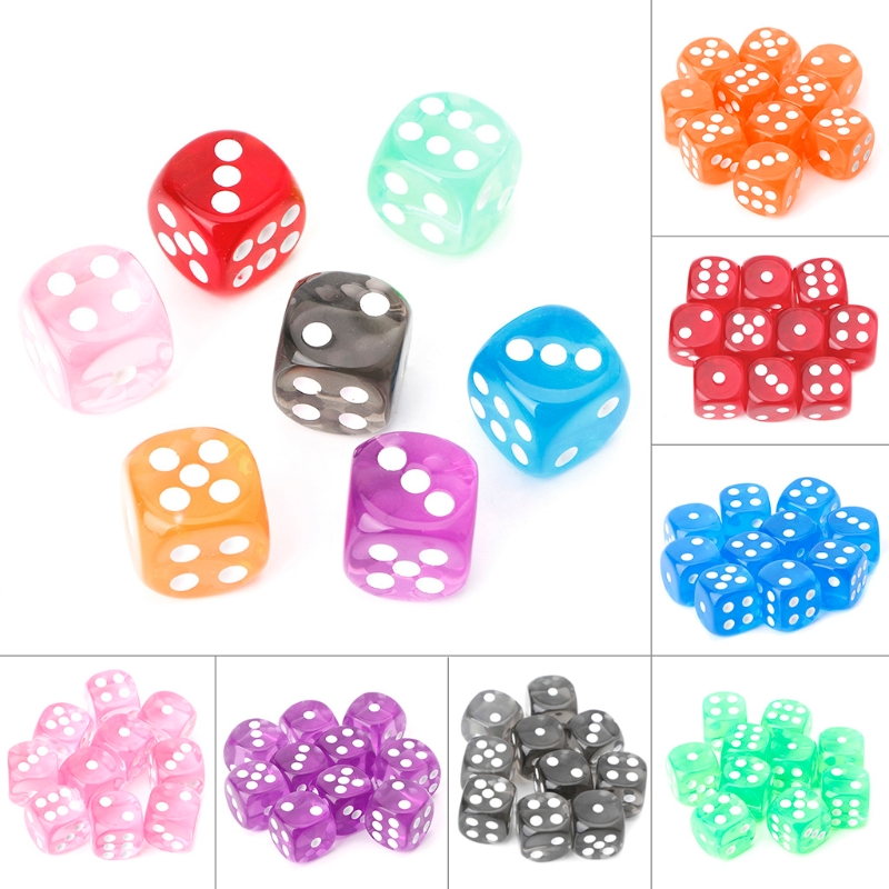 10pcs Six Sided 15mm Transparent Cube Round Corner Portable Table Playing Games