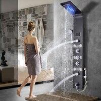 Черный/Матовый никель Ванная комната смеситель для душа светодиодный душ Панель колонна ванна смеситель W/ручной душ массаж Температура эк