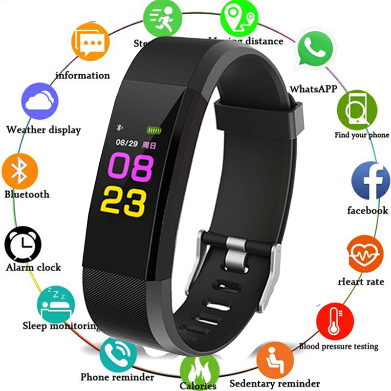 2018 Sport Bracelet Watch Women Men LED Waterproof Smart Wrist Band Heart Rate Blood Pressure Pedometer Clock For Android IOS