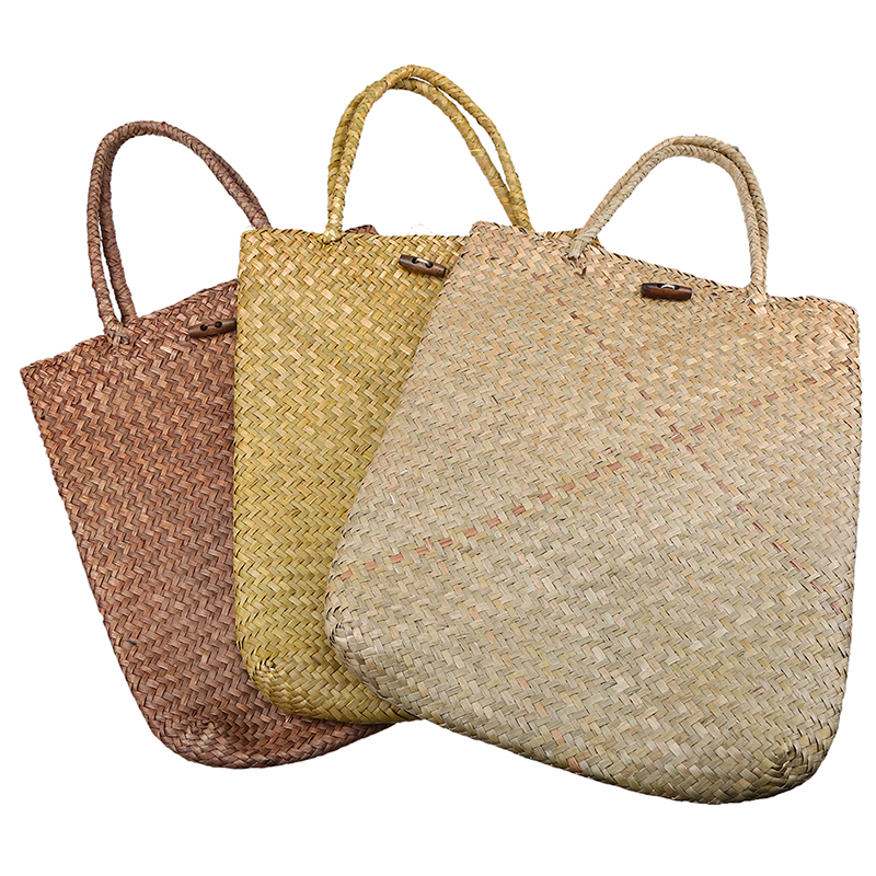 WHISM Women Beach Summer Big Straw Storage Bags Handmade Woven Basket Bag  Travel Handle Bags Luxury Designer Casual Store Bags In Storage Baskets  From Home ...