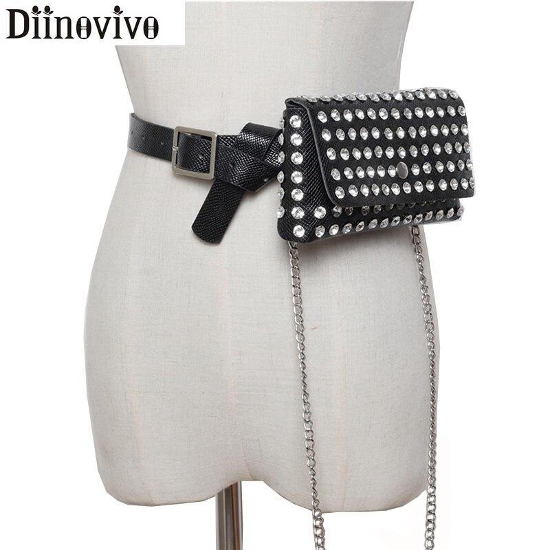 DIINOVIVO Brand Diamonds Designer Women's Belt Bag Luxury Serpentine Waist Bag Female Fashion Chain Phone Crossbody Bag WHDV1032