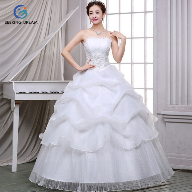 Hotest Ivory White Red Cheap Ball Gown Dress Strapless Wedding Lace Up Zipper