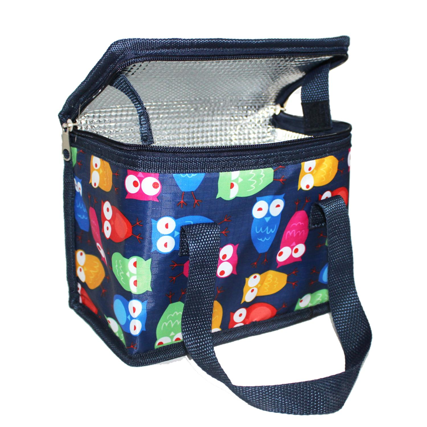 TEAMOOK  Thermal Lunch Bag Insulated Cooler Polyester Food Bag Picnic Carry Case Portable Lunch Box Blue Owl