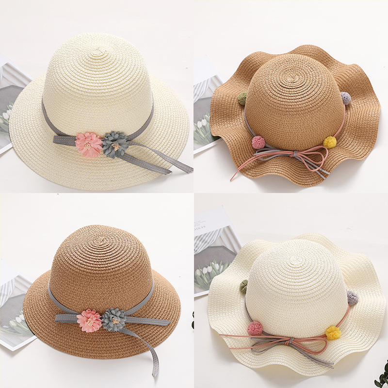 2019 Summer Baby Girl Straw Wavy Along Straw Hat Korean Version Of Mixed Color Sunscreen Visor Bow Garland Beach Sun Hat Beanies
