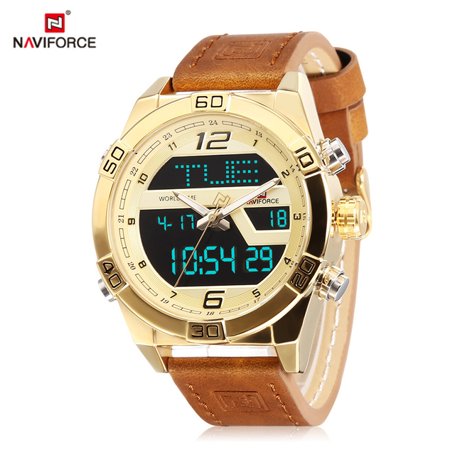 ae4090b978b NAVIFORCE 9128 Top Marca de Luxo Masculina Dupla Movt Relógio Digital  Display LED Backlight Calendário Luminosa