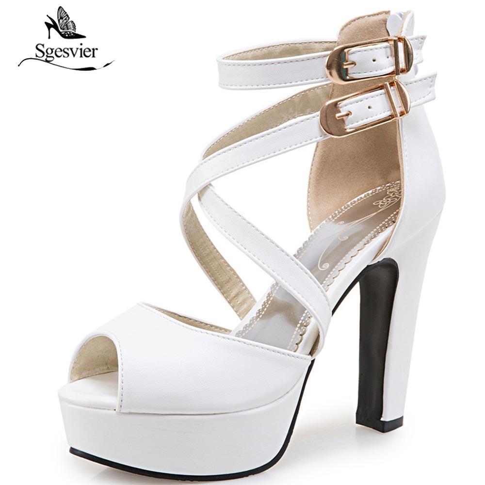 SGESVIER Women Sandals New Summer Peep Toe Platform Shoes Woman Buckle Strap Zipper Sandals Thick High Heels Party Shoes OX378
