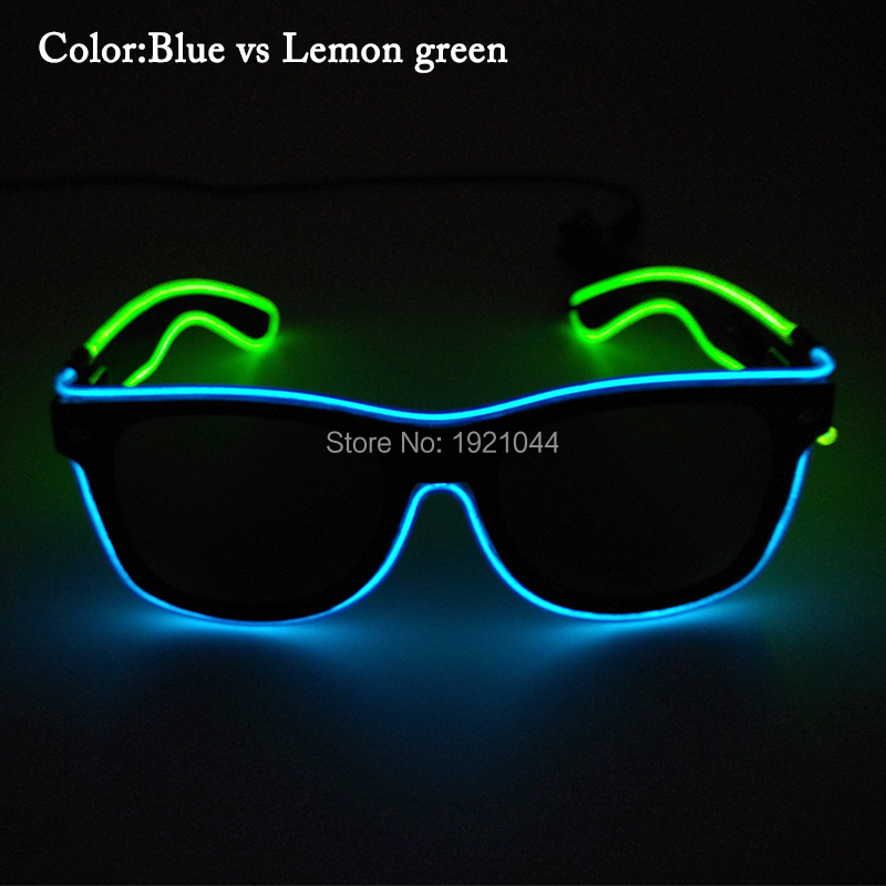 High-grade 50pcs Double color Freestyle Blinking illuminated LED EL Wire Light Up Party Glasses Glow Party favors