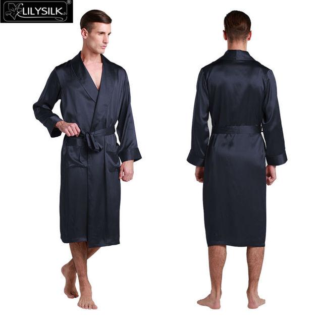 Lilysilk 100% Pure Mulberry Silk Kimono Robe for Men Wedding Vintage Long Sleeves Lapel Collar Pure Sleepwear Summer Japanese