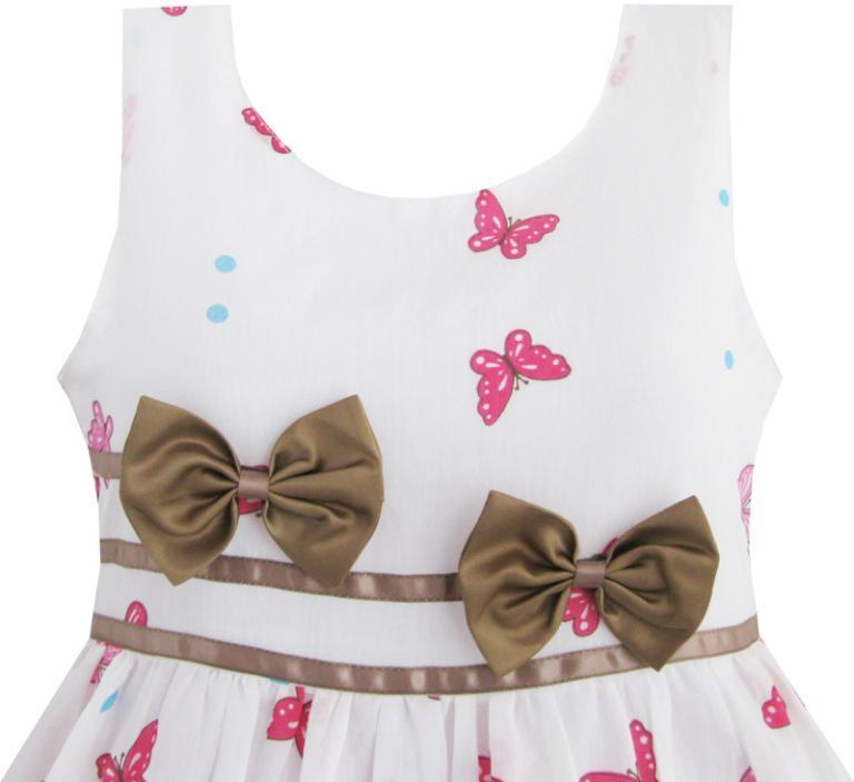 cf6fc776f Sunny Fashion Muchachas del vestido de la mariposa de Brown doble del  partido de la pajarita Vestido de tirantes para niños ropa de los niños de  4 ...