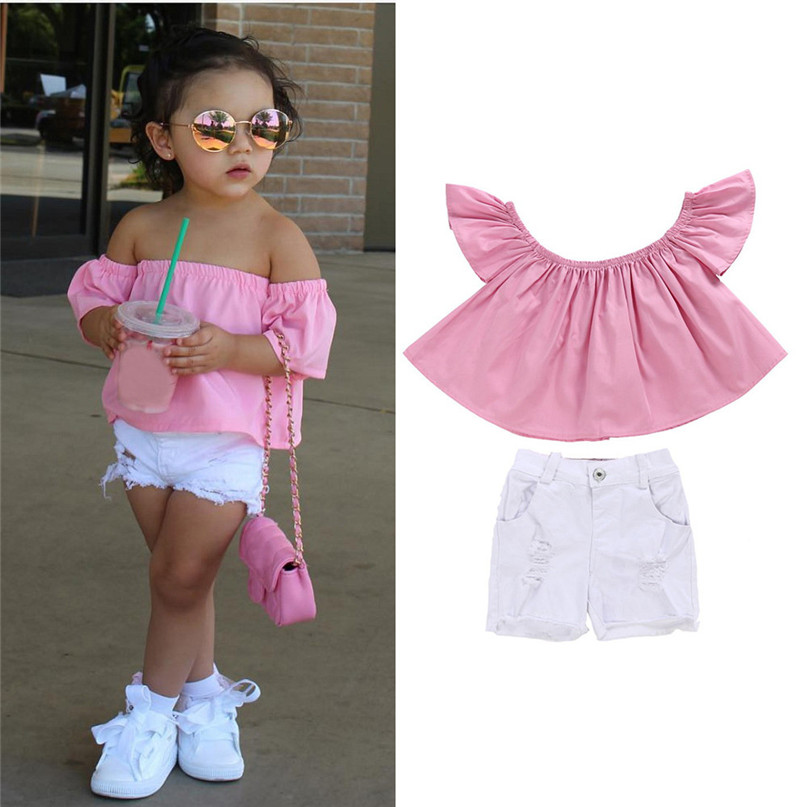 d096986f75 6 Colors Fashion Cool Toddler Kids Baby Girl Off Shoulder T Shirt Top  Shorts Pants Outfit Clothes Set Hot 2017 drop shipped ST27