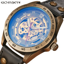 Retro Bronze Steampunk SKELETON AUTOMATIC Mechanical Watches Mens Sports Design Leather Luxury Top Brand Wristwatch Self-winding