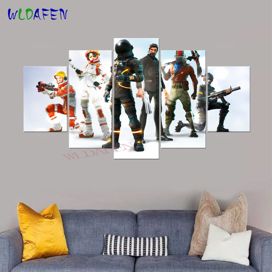 Fortnite Game Anime Poster 5 Pieces Canvas Art Printed Pictures for Living Wall Art Home Decor Kids Bedroom Decor