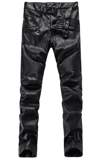Pantalones de cuero de los hombres en Europa y la locomotora de la moda de nueva PU viento cálido pantalones 2017 de los hombres