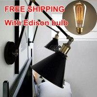 Vintage muro scone luce E27 placcato Loft american retro vintage ferro lampada D'epoca lampada da parete industriale E27 Lampadina Infissi