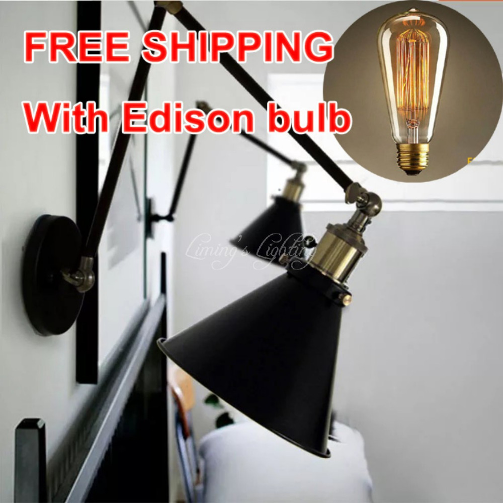 ФОТО Vintage wall scone light E27 plated Loft american retro vintage iron lamp Antique wall lamp industrial E27 Bulb Fixtures