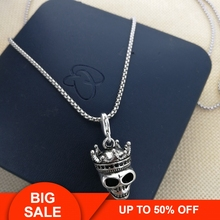 Thomas Skull King  with Crown Pattern DIY Beads Necklace, Rebel Heart Style Jewelry Gift for Men and Women TS my N119