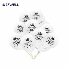 ZFWELL 12pz Transparent number 16/18/21/30/40/50/60 crown letter latex balloon happy birthday party background decoration7