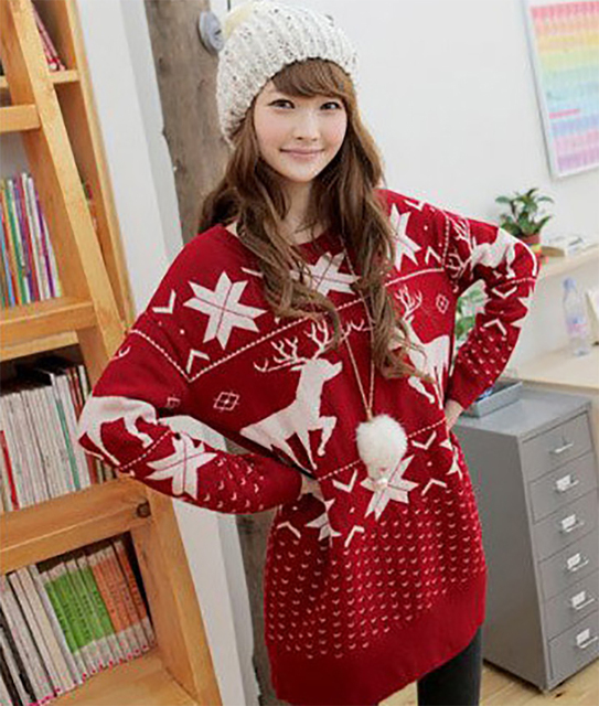 97af373e876 US $18.99 |Oversize Sweater Women Christmas Pullover Santa Reindeer Deer  Snowflake Norway Print Red Baggy Long Tops Jumper Knitwear Poncho-in ...