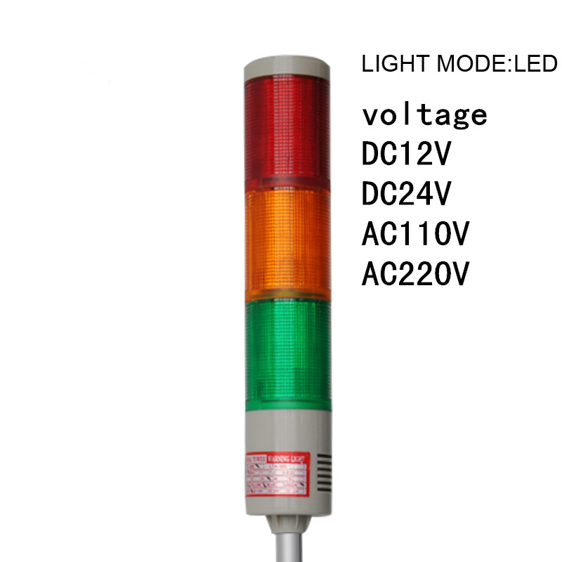 LTA-505-3 RYG 3 Colors Flashing LED Tower Light DC12V/ 24V /AC110V /220V Products Indicator Lights With U Bottom lta 205j 2 dc12v 2 layer tower light signals bulb warning lamp alarm 90db red green u bottom