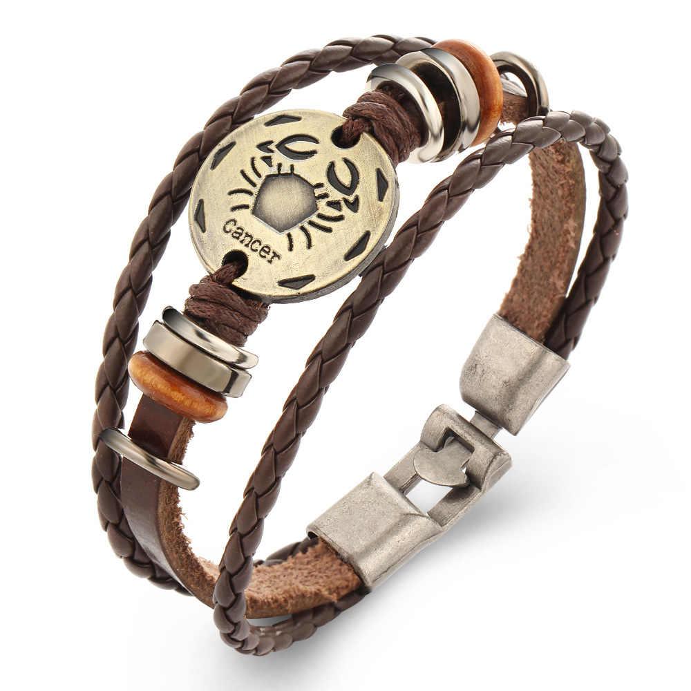 12 konstelacji bransoletki skóry Charm bransoletka łańcuch pleciony mankiet Bangle kobiety mężczyźni srebrny kolor opaski biżuteria