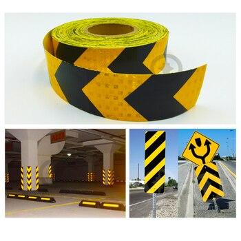 цена на 5cmx10m shining reflective warning self-adhesive stikcer with yellow black color arrow printing for car