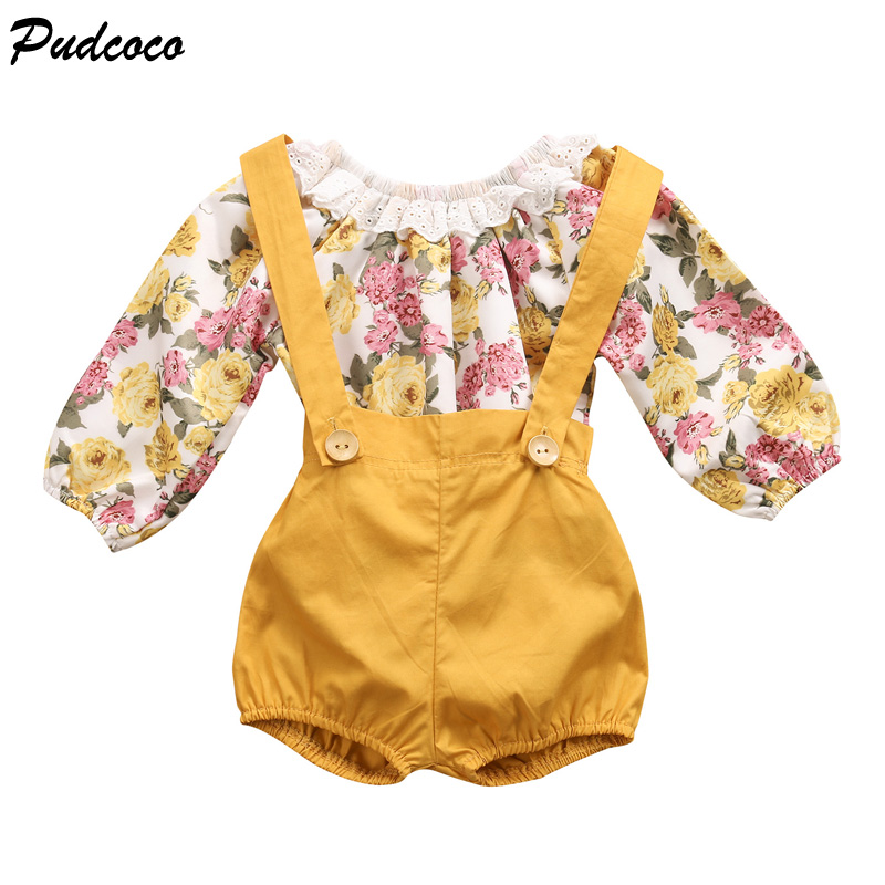 2017 Fashion Newborn Baby Girls Long Sleeve Ruffle Floral -6146