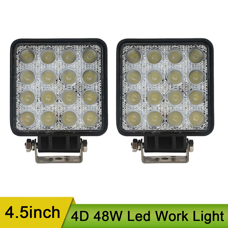 4.5inch 48W Led Work Light Spotlight Driving Light Pods Offroad Square Work Lamp for Off Road Fog Headlight Head light 12V 24V despicable me 2 battle pods loose 1 inch micro figure 36 blaster jerry [battle pods]