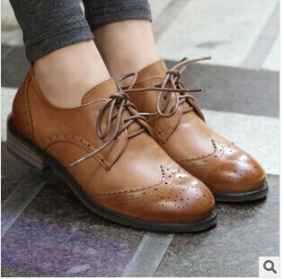 3f272a0a99 Ladies carved platform shoes leather Oxford shoes women s Brogues Leisure  vintage loafers flats Female Rubber Sole Wing Tip shoe