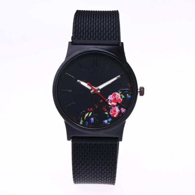 New Vintage Silicone Women Watches 2018 Luxury Top Brand Floral Pattern Casual Q