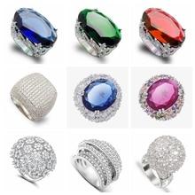 цены Yunkingdom 44 Style Fine Rings for Women Wedding Party Fashion Big Ring Luxury Geometric Jewelry