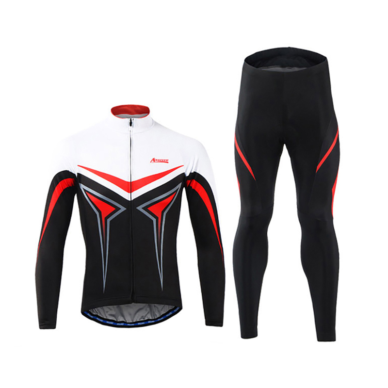 Top Quality Mens Cycling Jerseys Set Long Sleeves MTB Jersey Sponge Pad Bike Bicycle Jacket Sets Shirts Wear Uniforms 2016 new men s cycling jerseys top sleeve blue and white waves bicycle shirt white bike top breathable cycling top ilpaladin